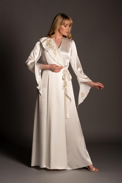 Baroque Silk Robe with Antique Gold lace 03816