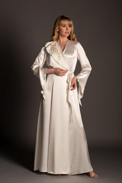 Baroque Polyester Robe with Antique Gold lace 03816