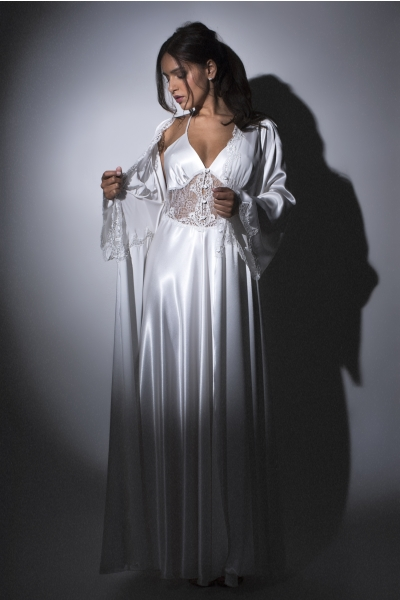 0874/0884 set Polyester Silver Lace Nightdress and Negligee