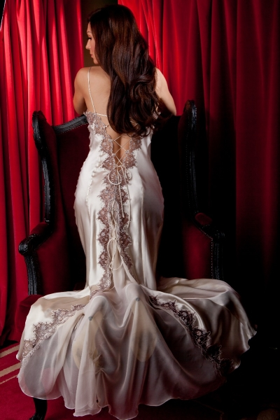 5178 Lace up Back Silk Gown