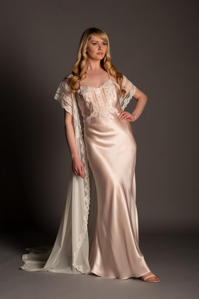 6977 Romantic Low Back Silk Gown
