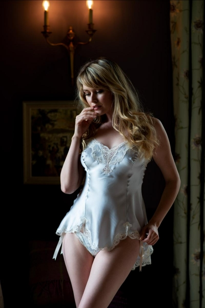 8864 Rosa Silk Long Camisole and Brief